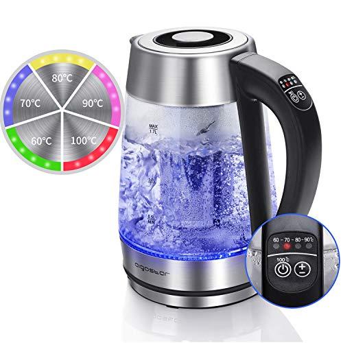 Aigostar Cris - Glas Wasserkocher Temperatureinstellung (60°C-100°C) Farbwechsel LED Beleuchtung, 2200Watt 1.7L Wasserkocher Edelstahl, Teesieb und Kalkfilter, Warmhaltefunktion.