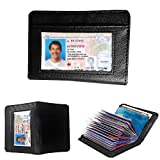 JahyShow 36 Slots Credit Card Holder Wallet Zip Leather Card Case RFID Blocking for Men and Women