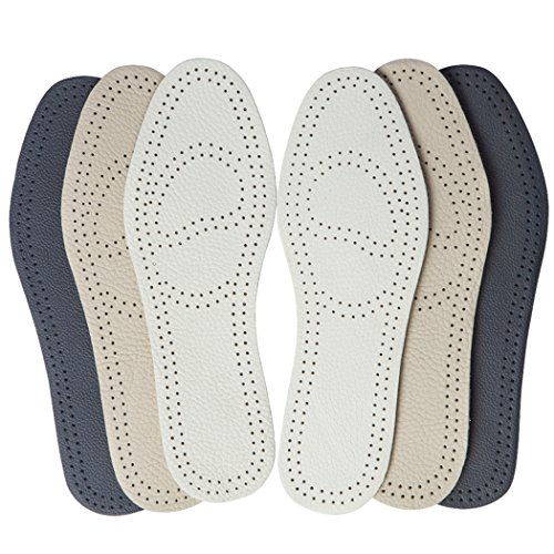 shoe pads Bellcon Leather Insoles for Men Boot Inserts Nonslip Shoe Pads for Men Thin Soles of Shoe for Odor Eaters Black Leather Inserts for Men (3 Pairs/ Mens 7-7.5 / Womens 9-9.5 M US)