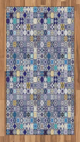 ABAKUHAUS marokkanisch Teppich, Mediterrane Weinlese, Deko-Teppich Digitaldruck, Färben mit langfristigen Halt, 80 x 150 cm, Mehrfarbig