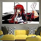 45Tdfc Anime Chica Rias Pintura al óleo sobre Lienzo Carteles e Impresiones Decoracion Wall Art Picture Living Room Wall 40x80cmx3P
