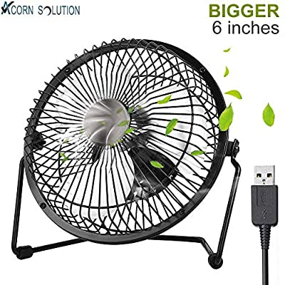 "AcornSolution USB desk fan Mini USB Tilting Desktop Cooling Fan with Metal Shell and Aluminium Blades (6""-USB) -1 year warranty"