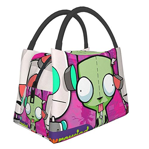 MAKOU Classic-Invader-Zim-Gir Insulated Lunch Bag, Reusable Lunch Tote Bag, Zipper Seal, Leak-Proof Portable Insulated Bag, Front Pocket, Lunch Box, Meal Bag, Lunch Bag, Multifunctional Bag