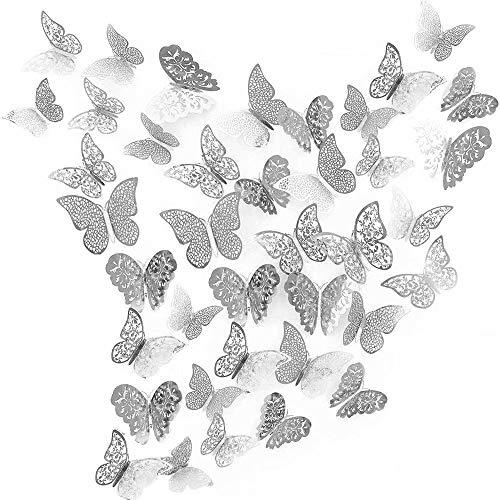 beihuazi® 3D Schmetterlinge Deko wand Wandsticker Aufkleber Wandtattoo für Wohnzimmer, Kinderzimmer, Türen, Fenster, Badezimmer, Kühlschrank(36 Stück,Silber)