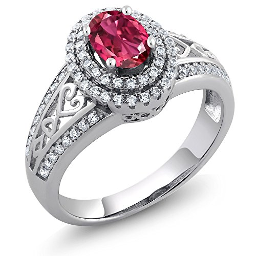 Gem Stone King 925 Sterling Silver Pink Tourmaline Women's Engagement Ring (1.24 Ct Oval, Available 5,6,7,8,9) (Size 8)