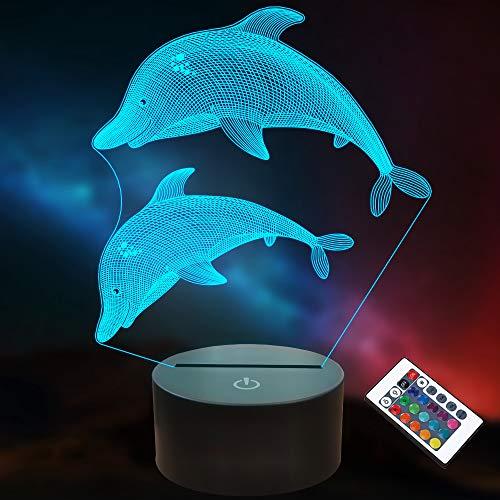 Delphin Regalos para Niños Niñas Lámpara 3D Ocean Dolphin LED Illusion Luz nocturna con mando a distancia 16 colores cambiantes