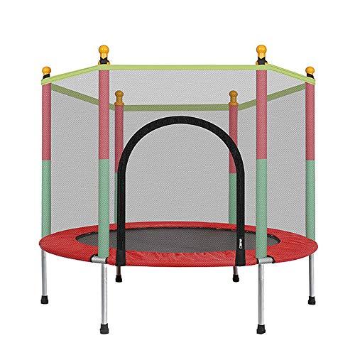 LUOQI Cama eslástica Ø140cm, para Niños Mayores de 3 Años Trampolín Infantil con Red de Seguridad Rosa