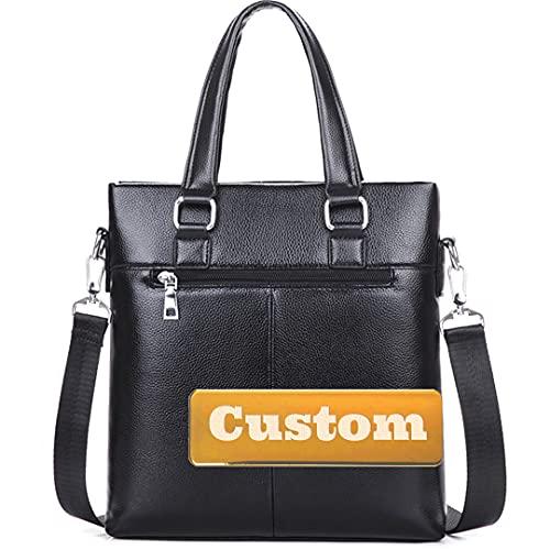 Nome personalizzato Spalla Messenger Crossbody Borsa da lavoro a spalla in pelle da viaggio in pelle da viaggio grande (Color : Black, Size : One size)