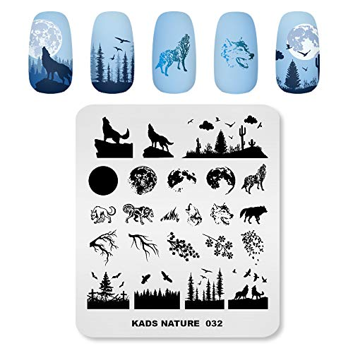 Alexnailart Nail Art Stamping Platten Bildvorlage mit Naturwald Wolf Moon Eagle Zweig Muster für Nail Design Maniküre Druck DIY Nail Design Nagellack Transfer Werkzeuge