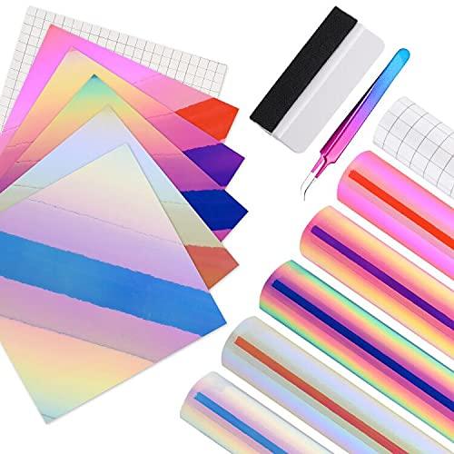 Ehdis Holografiche Vinylfolie Plotter, 6 Stück Vinylfolie Plotter 12x12 Zoll, mit Transferfolie, Selbstklebende Vinylfolie, Opal-Vinylfolien, Plotterfolie für Tassen, Glas, Abziehbilder