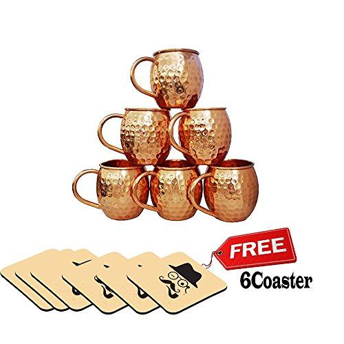 Rudra Handicraft ® Fait à la Main Tasse de Mule de cuivre martelé à la Main, Ensemble de 6 Tasses - capacité 16.90 oz / 500 ML (Gratuit 6 sous-Verre en Bois imprimé)