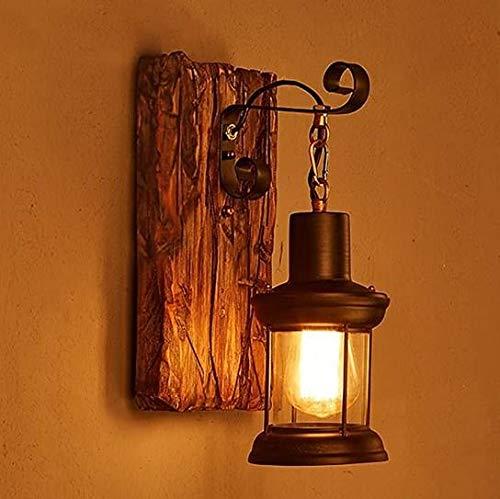 LIUDADA Lámpara de pared retro rústica EZ7 LED lámpara de pared lámpara de pared vintage apliques de metal cristal industrial decoración interior salón restaurante bar cafetería pasillo