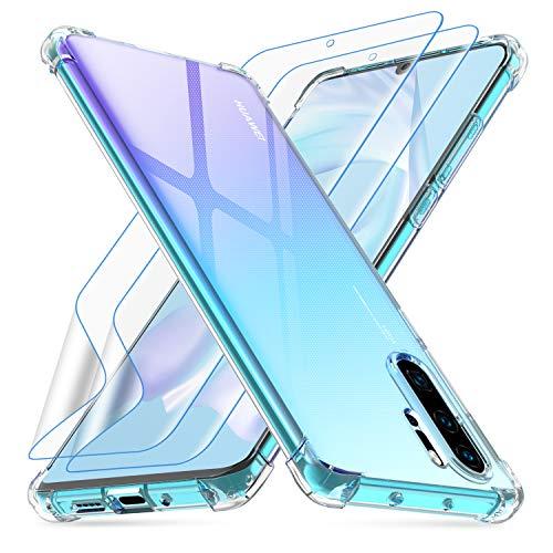 Losvick Cover per Huawei P30 PRO, Cover per Huawei P30 PRO New Edition con 2 x TPU Silicone Pellicola, Custodia Morbido Silicone Anti-Ingiallimento Protettiva Case per Huawei P30 PRO - Trasparente