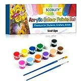 Pinturas Acrílicas,Acrylic Paint Set, Set de 12(Tubos 5ml) Tubos de Pinturas Acrílicas, Viene con 2 Pinceles, El Juego de acrílicos Artistas, Principiantes o niños
