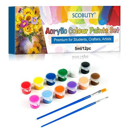 Pinturas Acrílicas, Acrylic Paint Set, Set de 12 (Tubos 5ml) tubos de Pinturas Acrílicas, Viene con 2 pinceles, El juego de acrílicos de alta calidad para artistas, principiantes o niños