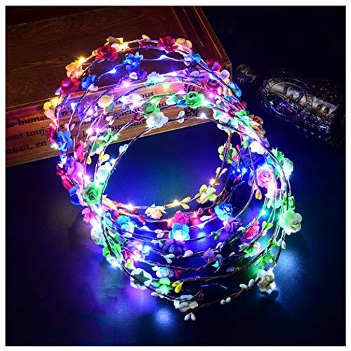 FunPa Corona Flores Led, 7 unids Garland Diademas Luminosas 10 LEDs Bohemia Diadema Flores LED Headwear Floral Corona Tiara Decoración de La Boda Coronas de Flores para Niñas Mujeres