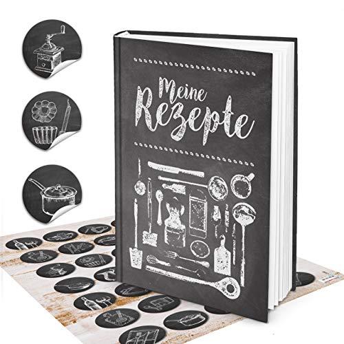 Logbuch-Verlag Set Rezeptbuch zum Selberschreiben DIN A4 MEINE REZEPTE schwarz weiß Tafelkreide-Look + 35 Aufkleber Vintage Kochbuch leer für eigene Rezepte Geschenk DIY