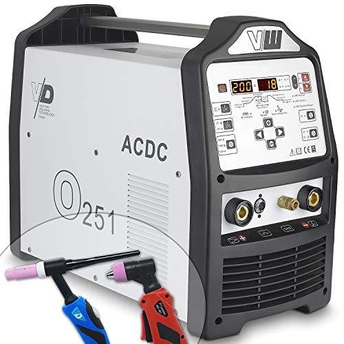 WIG Schweißgerät AC DC mit Plasmaschneider sowie Elektrodenschweißfunktion | 200 Ampere - HF Zündung - Pulsfunktion 2 und 4 Takt Jobspeicher von Vector Welding