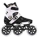 CHHBOXCHH Enfant Adolescent Adultes Rollers,Tailles Reglable Femmes Inline Skates,Trois Grandes Roues,White-43