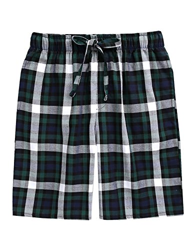 TINFL Men's Plaid Check Cotton Lounge Sleep Shorts MSP-SB005-Green XL