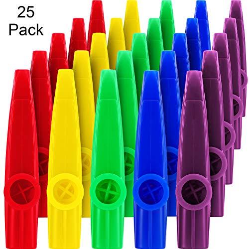 Kunststoff Kazoos Musikinstrumente mit Kazoo Flöten Membranen für Geschenk, Preis und Party Gefälligkeiten, 5 Farben(25 Stücke)