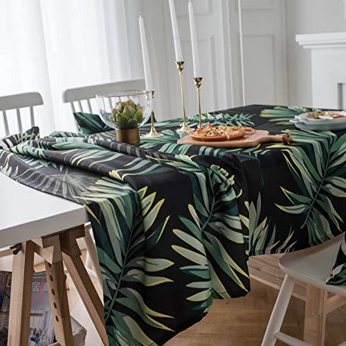 shiyueNB Nordic stijl salontafel baksteen patroon tafelkleed fuchsia tafelkleed vol polyester rechthoekige tafelkleed 100 * 135 Green Leaf Black Background With Tex