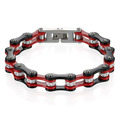 JewelryWe Schmuck Herren Armband, Top-Qualität Fahrradkette Motorradkette Hochglanz Poliert Armkette, Edelstahl Strass, Schwarz Rot