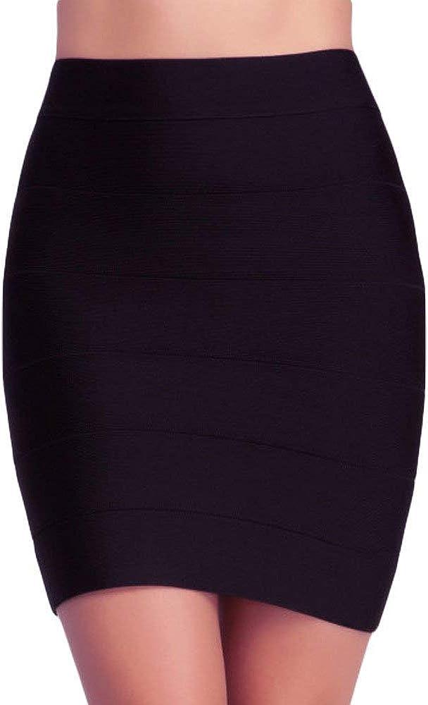 Women's Office Work Basic Color Scuba Midi Pencil Skirt/Bandage Knit Mini Skirt