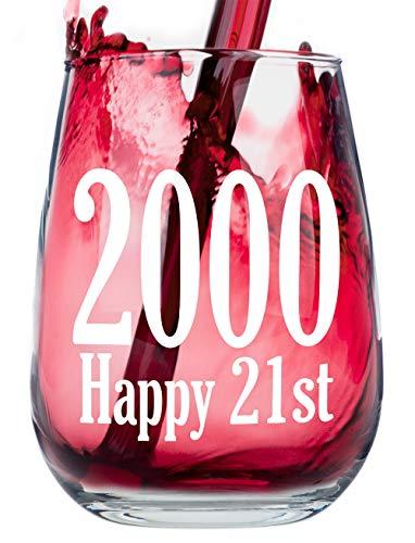 Happy 21st Birthday - Stemless Wine Glass (2000)