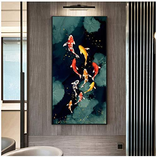 Koi Fish Feng Shui Carp Lotus Pond Pictures Canvas...