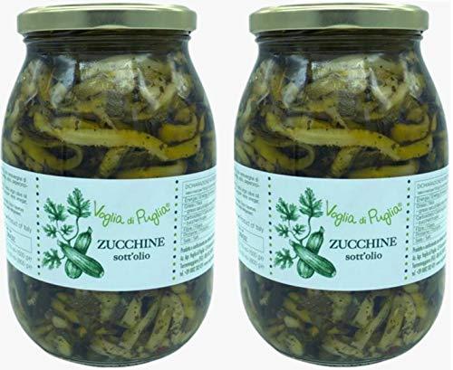 Voglia Di Puglia Zucchine Italiane A Fettine Sottolio In Olio Extravergine Di Oliva 2 Barattoli 1 kg