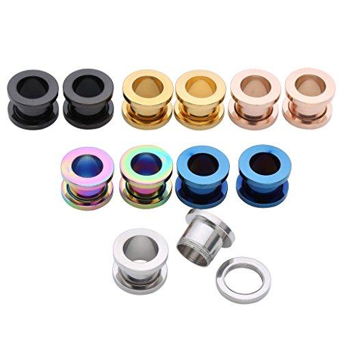 JSDDE Piercing Set,12er/6Parre Edelstahl Multi Farben Tunnel Schraub Flesh Ohrstecker Plug Expander Ohrpiercing Punk (10mm)