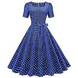 IMEKIS Vestido de cóctel vintage de los años 50 sin mangas halter lunares retro Rockabilly Swing vestido de una línea de ajuste y acampanado falda plisada hasta la rodilla vestido de noche formal