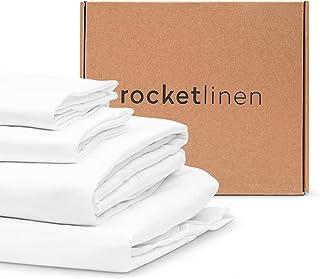 RocketLinen 400 Thread Count 4 Piece Bed Sheet Set - Flat Sheet, Fitted Sheet & 2 Pillowcase - 100% Long Staple Cotton Bed...