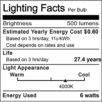 G25 LED Globe Light Bulbs,Cotanic 5W Vanity Light Bulb (60W Equivalent),Daylight 4000K,Non-dimmable Makeup Mirror Lig...