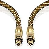 IBRA Master Gold - 3m (Metros) Cable óptico de Audio Digital Toslink Conectores Toslink | para PS3, Sky, Sky HD, Home Cinema Sistemas, AV Amps.