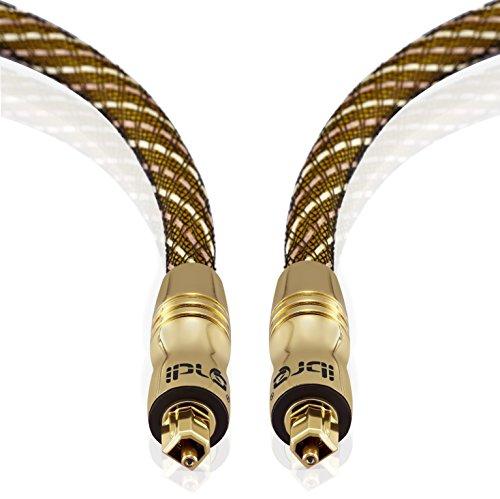 Cavo Ottico - IBRA Cavo Toslink 5m (metri) - Cavo Fibra Ottica Audio Digitale - per PS3 PS4 SKY SKY+ SKYHD XBOX One Blu-ray CD DVD Amplificatori AV - Master Gold