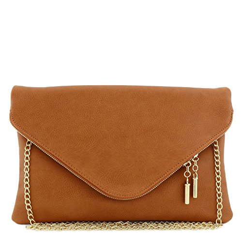 Large Envelope Clutch Bag with Chain Strap Tan