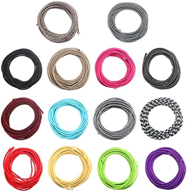 HVTKL 10M 2 Cord Farbe Vintage Twist Geflochtene Stoff Licht Kabel Elektrischer Draht HVTKL (Farbe   Farbe Light Blau)