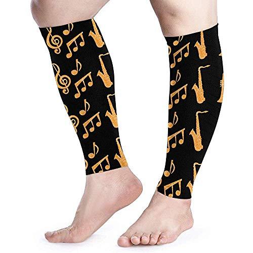Saxofoon trompetten muziek gouden kalf compressie mouw been prestaties ondersteuning scheenbeen Splint kalf pijn verlichting