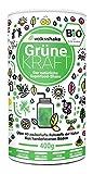 Volksshake Grüne Kraft - BIO Smoothiepulver - DE-ÖKO-006- Die natürliche Superfood Formel, über 40 bezaubernde Naturstoffe wie Weizengras, Moringa, Maca, Ashwagandha, Gerstengras,...