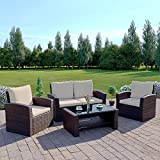 Abreo Rattan 4 Seater Garden Furniture Sofa Set