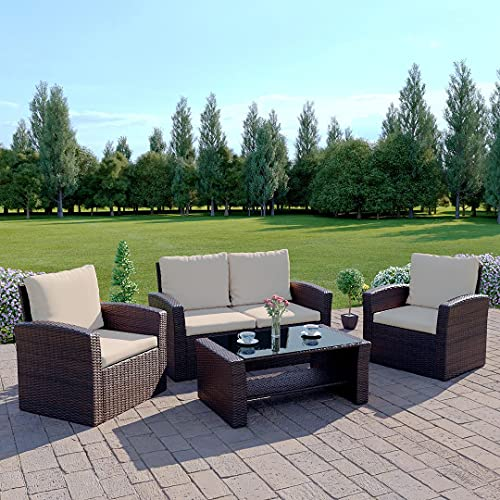 Abreo Rattan Garden Furniture Sofa Set Patio Conservatory New Wicker Weave Furniture Patio Conservatory 2 or 3 Seater Sofa (Brown with Light Cushions, Algarve 2+1+1) INCLUDES OUTDOOR WATERPROOF PROTECTIVE COVER
