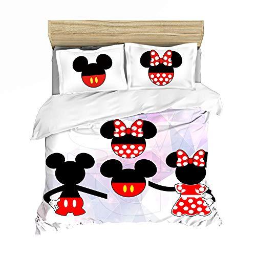 Evvaceo Juego de cama infantil 3 piezas funda de edredón de dibujos animados Anime Animal Mouse 220 cm x 230 cm Adolescentes Niño Niña Dormitorio Kindergarten Ropa de cama de fibra superfina (king)