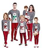 Family Feeling Baby Infant Holiday Christmas Polar Bear Plaid Matching Family Long Sleeves Pajamas Set Grey Size 18-24M