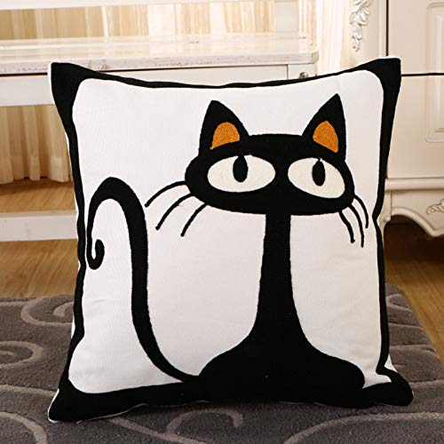 Bbrand Impressionism Embroidery Pillow Cover, Embroidery, Embroidered Cotton Pillow Cover Full,Elf Cat,45 × 45Cm (Pillow)