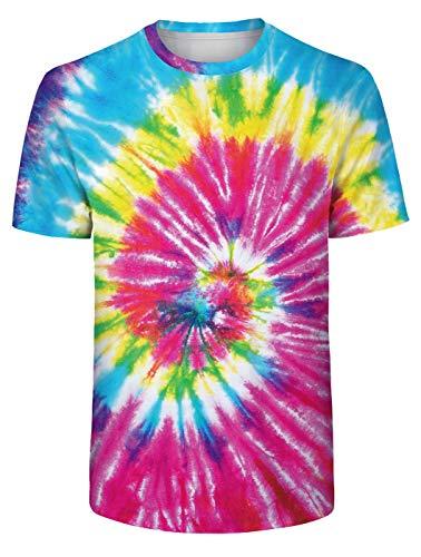 Verano Tie Dye Camiseta Teñido Anudado T-Shirt Arco Iris Camiseta Vistoso T-Shirt Moda Casual Top Perder Ajuste Camiseta para Hombres Mujeres y Adolescentes para Vacaciones Playa