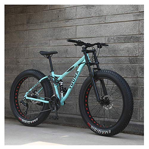 Xiaoyue 26-Zoll-Mountainbikes, Erwachsene Jungen Mädchen Fat Tire Mountain Trail Fahrrad, Doppelscheibenbremse Fahrrad, High-Carbon Stahlrahmen, Anti-Rutsch-Bikes, Blau, 24 Geschwindigkeit lalay
