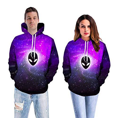 RRQS Unisex geest, sterrenhemel, digitale 3D-print mode-print met capuchon tas koordsluiting pullover paar kleding