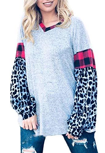 CORAFRITZ Damen-Pullover, lockerer V-Ausschnitt, Leopardenmuster, Patchwork, kariert,...